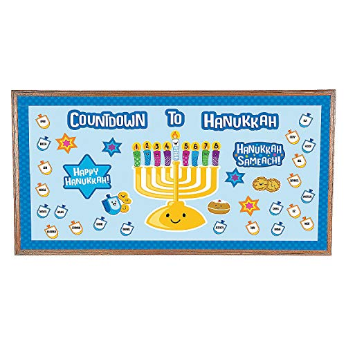 Fun Express - Countdown to Hanukkah Bb Set for Hanukkah - Educational - Classroom Decorations - Bulletin Board Decor - Hanukkah - 90 -