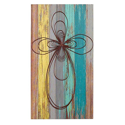 Cross Colorful Lath Look 12 x 22 Inch Wood Metal Decorative Hanging Wall Plaque by Dicksons