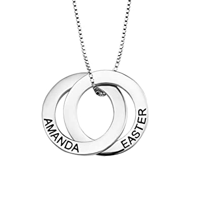 5f384c79bf129 Amazon.com: Engraving Russian Ring Name Necklace 925 Sterling Silver ...