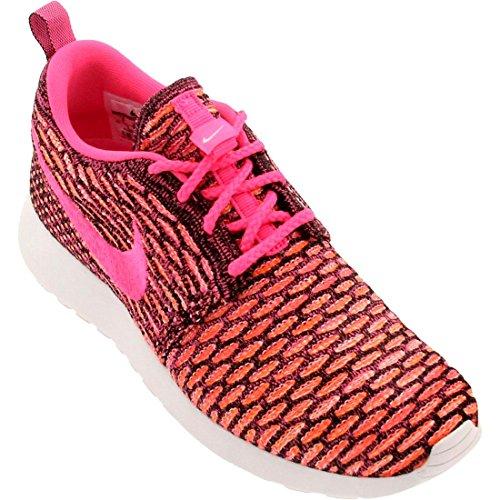 NikeRoshe Flyknit - Zapatillas de Running Mujer black rosa power blanco total naranja 004