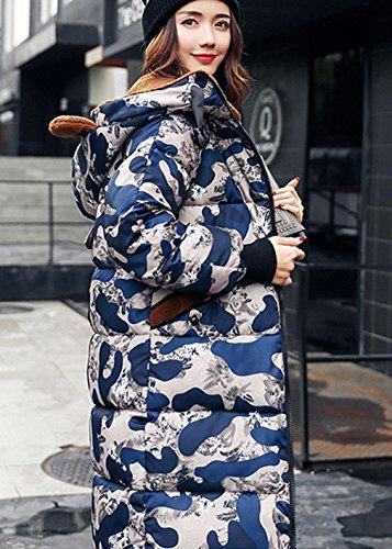 Outwear Coat COMVIP Long Women Lamb Blue Puffer Cotton Padded Wool Hood wRFxOwz