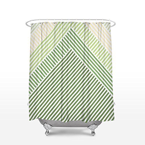 Green Striped Shower Curtain - Modern Decor Shower Curtain Green Geometric Striped Scales Bathroom Decoration Polyester Fabric Shower Curtains 36x72inch