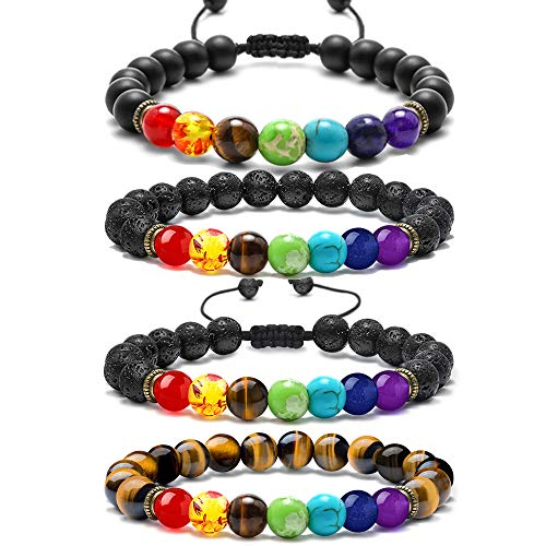 Bracelets for Women Men Set - 8mm Natural Lava Rock Stones Beaded Chakra Bracelets, Womens Mens Beads Aromatherapy Essential Oil Diffuser Bracelets Anxiety Bracelet (Healing 7 Chakras Volcanic Stone Energy Bracelet)