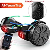 TOMOLOO Hoverboard with Bluetooth Speaker Smart Scooter Two-Wheel Self Balancing Electric Scooter and LED Lights - Black Hover Board with UL2272 Certified for for Adults and Children. …