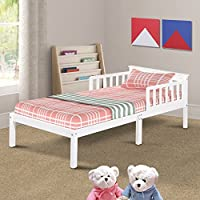 Harper&Bright Designs Solid Wood Toddler Bed, White, Twin