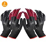 Garden Gloves with Claws for Women and Men Both Hands, Farmer Gardener Home Gardening Genie Gloves Easy to Dig and Plant Nursery 2 Pairs