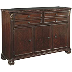 Ashley Furniture Signature Design - Leahlyn Dining Room Buffet - Old World Traditional Design - Reddish Brown