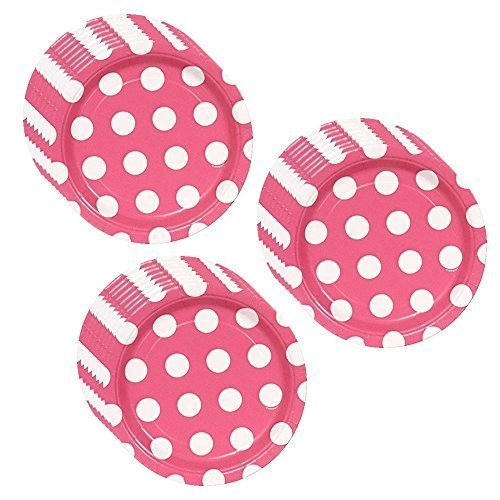 1 X Hot Pink Polka Dot Party Dessert Plates - 24 Guests by Unique (Pink Polka Plates Dot)
