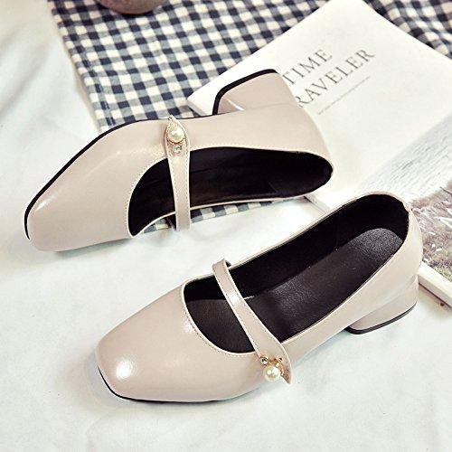 RUGAI-UE Retro Squsmall zapatos de moda de cuero grueso boca superficial Beige