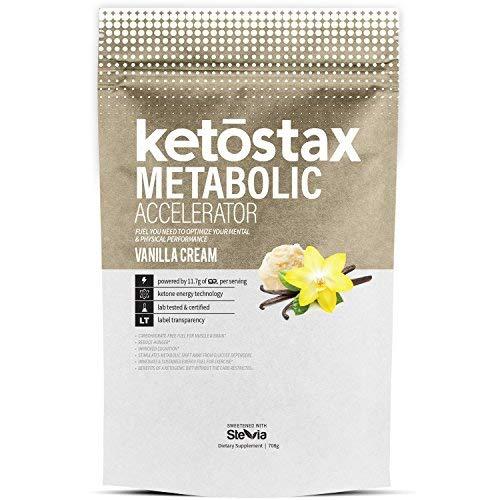 Ketostax Metabolic Accelerator 20 servings Vanilla Cream flavor contains CLA, Green Coffee Bean Extract, Garcinia Cambogia Extract, L-Carnitine, OligoSmart IMO Prebiotic Fiber, Caffeine & Evodiamine