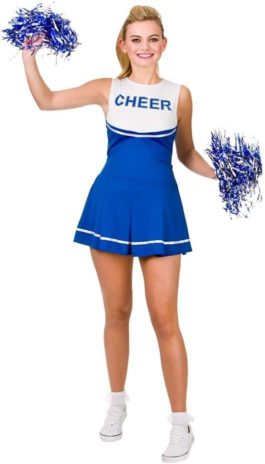 Cheerleader Royal Blue White Sport Costume Woman Fancy Dress