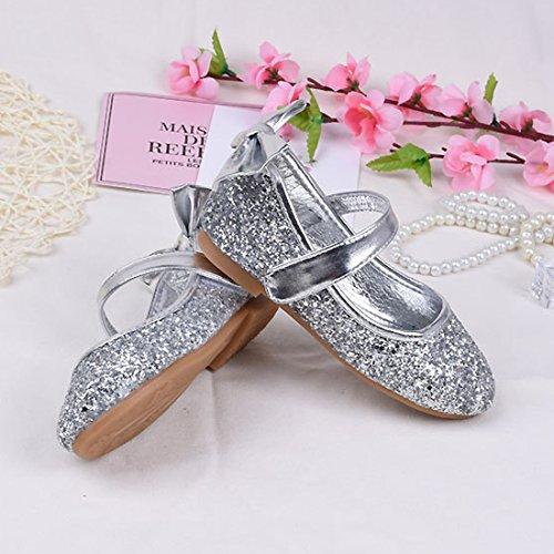 Cool&D Mädchen Sandalen Frozen Schuhe Prinzessin Sandalen Oxford Sohlen Sandalette mit Glitzerpailletten Silber