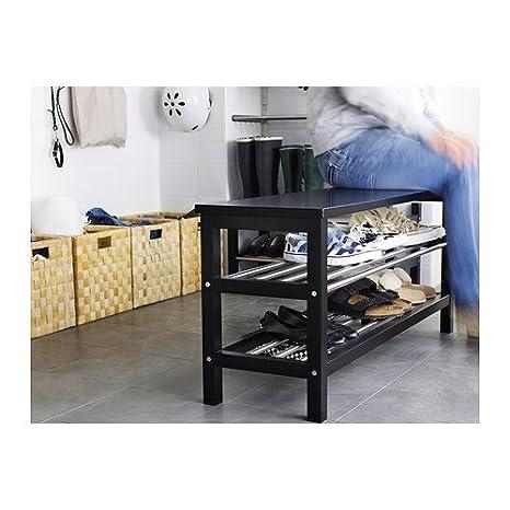 Ikea TJUSIG - Banco con almacenaje del Zapato, Negro ...
