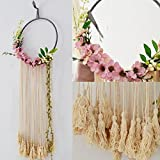 RISEON Handmade 32″ Long Large Tassel Dream Catcher Wall Hanging Decoration Macrame Fringe Floral Flower Wreath Dreamcatcher Boho Home Decor Ornament Gift (Pink)