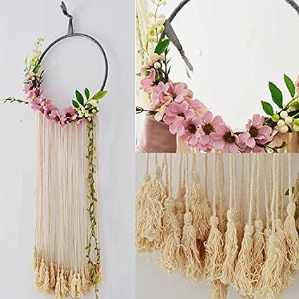 RISEON Handmade 32quot Long Large Tassel Dream Catcher Wall Hanging Decoration Macrame Fringe Floral Flower
