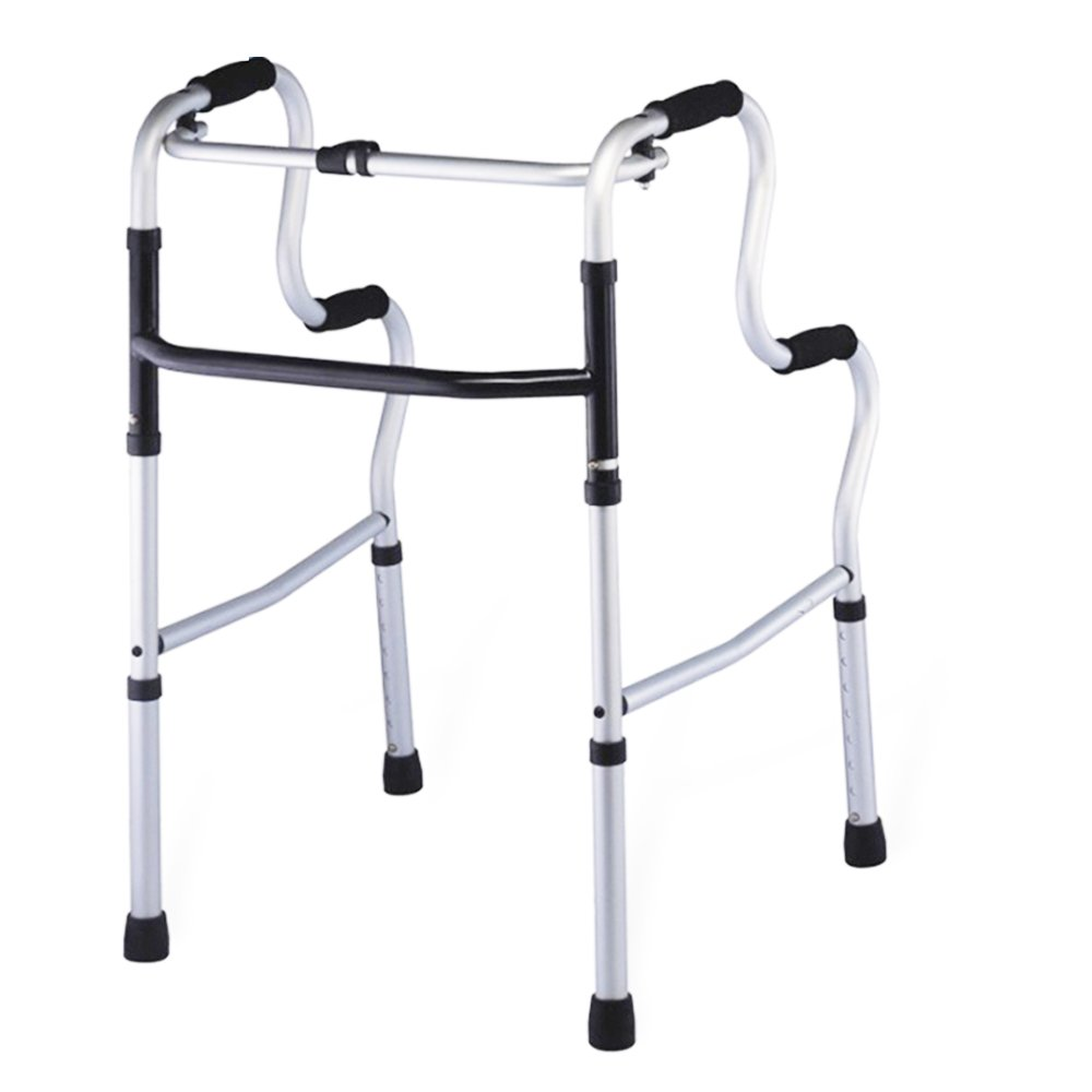 XIHAA Elderly People Portable Walker Aid Disabled Adjustable Foldable Non-Slip Foot Pad Walking Rehabilitation Equipment Bathroom Bath Chair (Without Wheel)