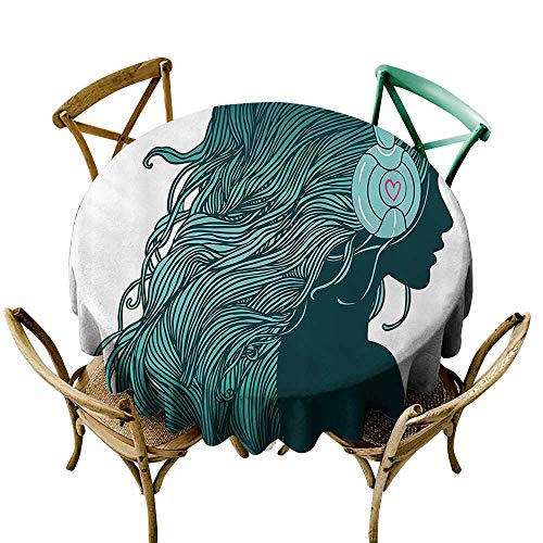 Jbgzzm Polyester Tablecloth Music Decor Collection DJ Girl Profile with Long Hair in Headphones Nightclub Silhouettes Party Picture Party D47 Teal White ()
