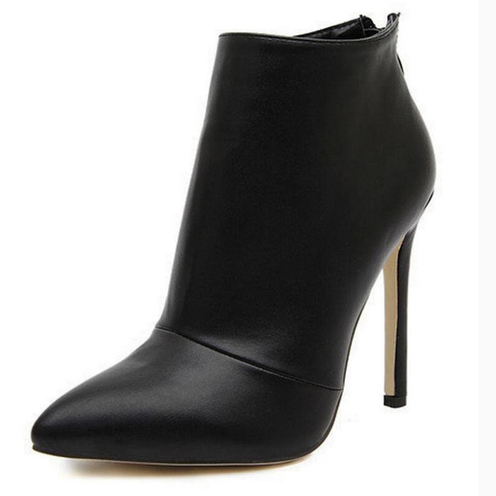 Frauen High Heels Einfache glänzende Zipper Spitz Stiefel Stiefeletten Schwarz Rot schwarz Leder
