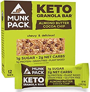 product image for Munk Pack Keto Granola Bar, 1g Sugar, 2g Net Carbs, Keto Snacks, Chewy & Grain Free, Plant Based, Paleo-Friendly, Gluten Free, Soy Free, No Sugar Added (Almond Butter Cocoa Chip 12 Pack)