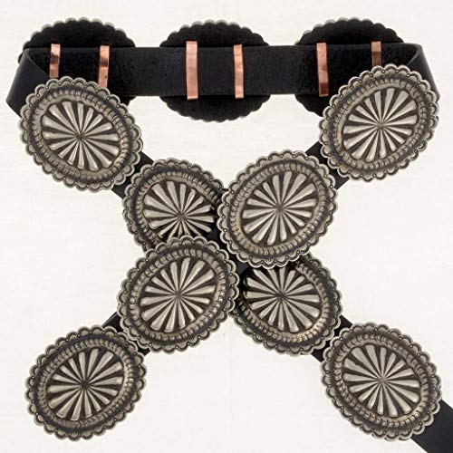 Native American Concho Belt Stamped Hammered Silver Patterns 0248