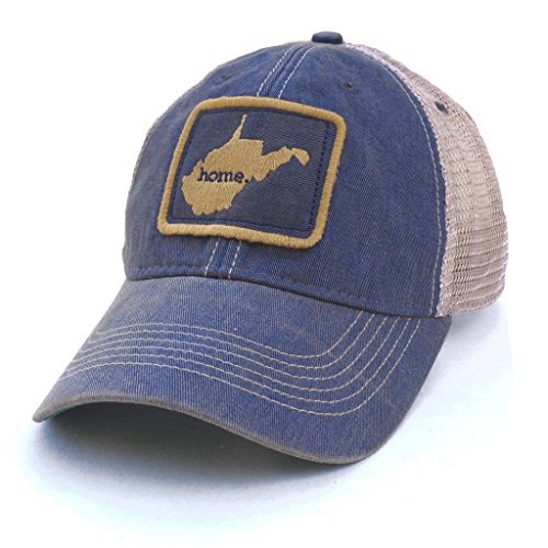 Homeland Tees Mens West Virginia Home Mesh Trucker Hat   Blue Gold