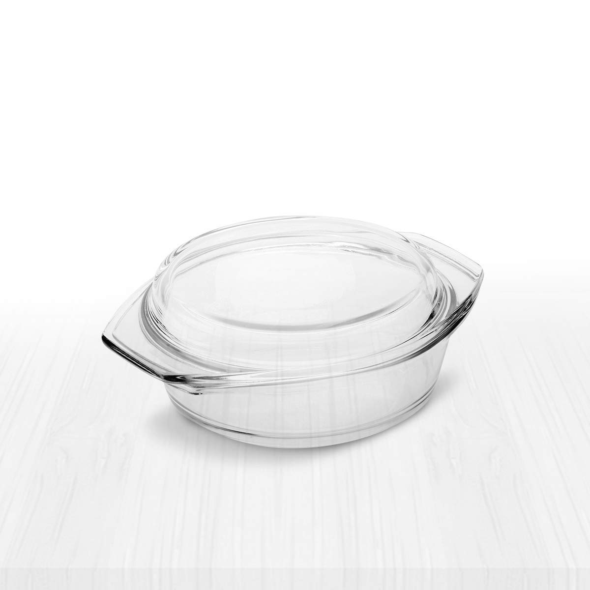 Clear Round Glass Casserole by Simax | With Lid, Heat, Cold and Shock Proof, Made in Europe, Oven, Freezer and Dishwasher Safe, 8 Inch by SIMAX