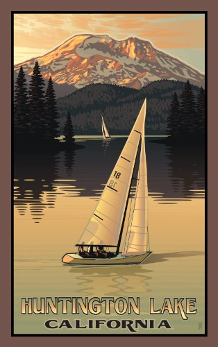 Northwest Art Mall Huntington Lake California Sailboat and Mountain Artwork by Paul B Leighton, 11-Inch by - Huntington Mall
