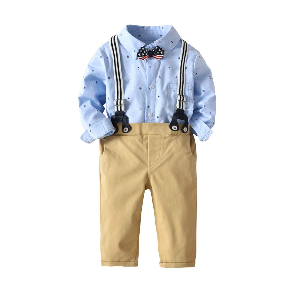 BINIDUCKLING Baby Infant Formal Outfit Suit Boy Khaki Bib Pants Blue Onesie Shirt with Bow Tie Suspender Anchor Print 12M