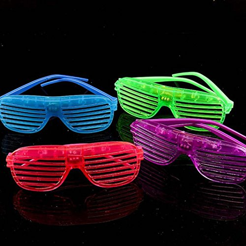 Glasses, Hometom 12PC Slotted Shutter LED Flashing Shades Light Up Glasses Party Toy (Ramdon Color)