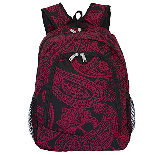 World Traveler Multipurpose Backpack 16-Inch, Black Pink Paisley, One Size