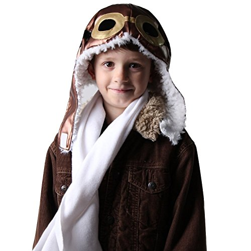 Kids Aviator Dress Up Costume Hat and Scarf Set