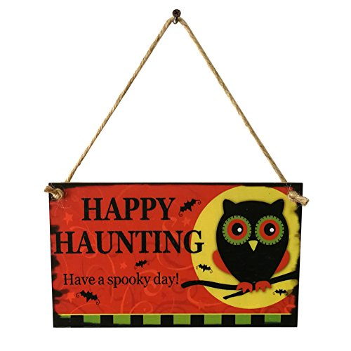 Dds5391 Halloween Hot Happy Haunting Halloween Wooden Owl Wall Door Hanging Plaque Party Decoration Owl]()