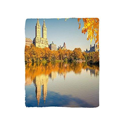 VROSELV Custom Blanket New York Central Park at Sunny Day in Fall Historical Monument City Scenery Soft Fleece Throw Blanket Marigold Cream Light Blue