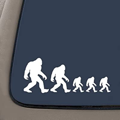 NI273 Bigfoot Sasquatch Family Stick Figure Decal Sticker | 7.5-Inches by 3-Inches | Premium White Vinyl Decal: Automotive