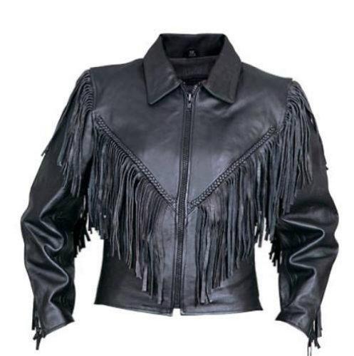 Leather Fringed Motorcycle Jacket - 6
