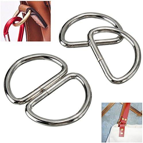10 anillos en D de metal plateado cromado para correas de ...