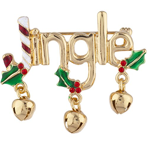 Lux Accessories Gold Tone Christmas Xmas Holiday Jingle Jingle Bells Brooch ()