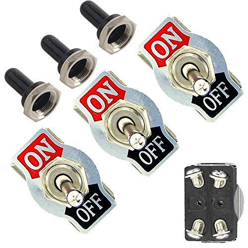 EtoparsTM 3 X Heavy Duty 20A 125V 15A 250V DPST 4 Terminal Pin ON/OFF Rocker Toggle Switch Flick Metal Waterproof Cap Knob ()