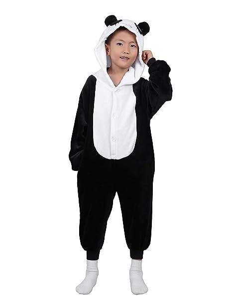 iiniim Pijama Panda Forro Polar Franela para Niña Niño Mono Animal Unisex con Capucha Cálido Peluche Disfraz Cosplay Body Ropa de Dormir Traje Infantil ...
