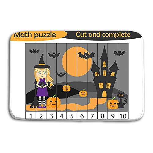 (Kitchen Floor Bath Entrance Door Mats Rug math puzzle halloween picture witch cartoon style education game development preschool children use scissors cu Halftone Non Slip Bathroom Mats 23.6
