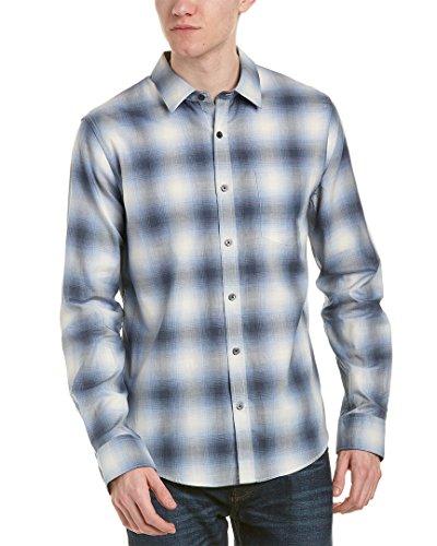 Vince Men's Shadow Plaid Long Sleeve, Light Blue, L - Shadow Shirt Plaid