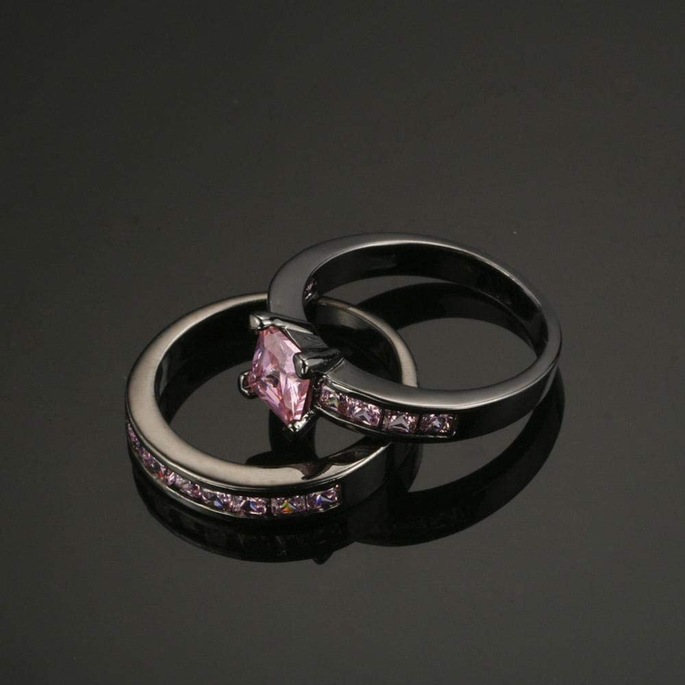 S001 Double Set Ring Powder Zircon Black Gold Ring Personalized Ring
