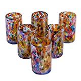 NOVICA Artisan Crafted Hand 157066''Carnival Blown Glass Tumbler, Set of 6, Bright