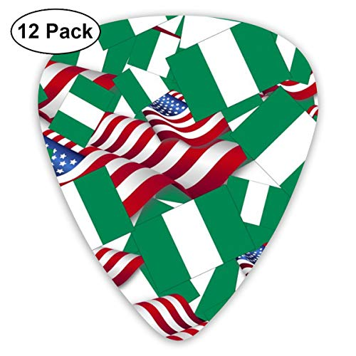Nigeria Flag With America Flag 12 Pack Guitar Picks, Unique Guitar Gift For Bass, Electric & Acoustic Guitars Includes 0.46mm, 0.71mm, 0.96mm (Best Guitarist In Nigeria)