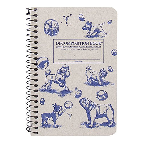 Michael Roger Press Dogs & Bubbles Pocket Wirebound Notebook, 4 by 6 Inches, Lines Pages, Made From 100 Percent Post Consumer Waste Recycled Paper, Made in the USA (Wirebound Recycled Journal Art)