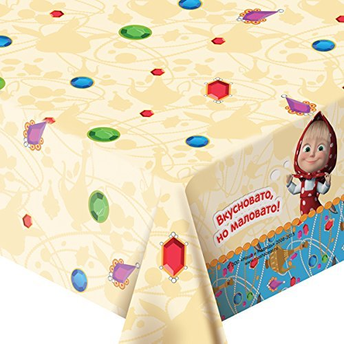 Tablecloth ''Masha's fairy tale'' for Children's Birthday Party with Favorite Characters Masha and the Bear