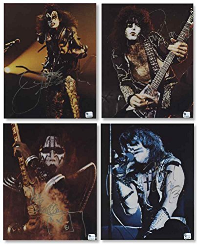 Kiss Signed Photo (Kiss Simmons, Stanley, Frehley, Criss Signed Rare Fan Club Photo Set Includes 4 Autographed 8x10 Photos COA)