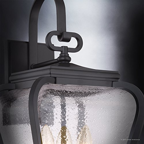 Luxury French Country Outdoor Wall Light, Large Size: 19''H x 9.5''W, with Mediterranean Style Elements, Soft and Simple Design, Inky Black Silk Finish and Seeded Glass, UQL1202 by Urban Ambiance by Urban Ambiance (Image #4)