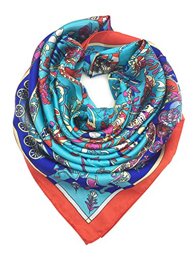 (YOUR SMILE Silk Like Scarf Women's Fashion Pattern Large Square Satin Headscarf,Teal)