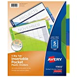 Avery Big Tab Insertable Plastic Dividers with Pockets, 5 Multicolor Tabs, 1 Set (11902)